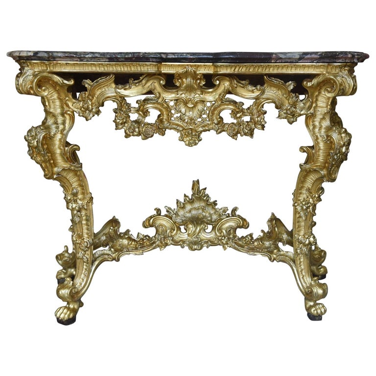 18th Century Ancient Console Rococò Italian Giltwood Carved Wood, 1700s For Sale