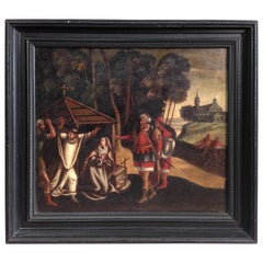 18th Century Ancient Oil on Canvas Flemish Religious Painting, 1760