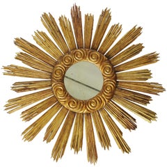 18th Century and Later Large Giltwood Sun Mirror