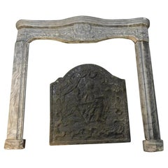 18th Century Antique Bardiglio Gray Marble Fireplace Mantel, Italy