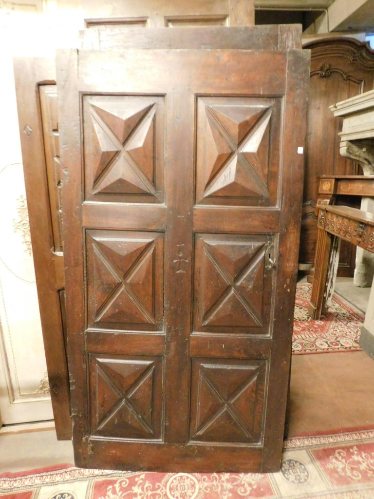 18th Century and Earlier 18th Century Antique Brown Walnut Wood Door, Carved Symbols, with Diamonds For Sale