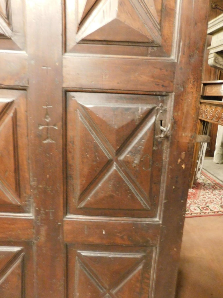 18th Century Antique Brown Walnut Wood Door, Carved Symbols, with Diamonds For Sale 1