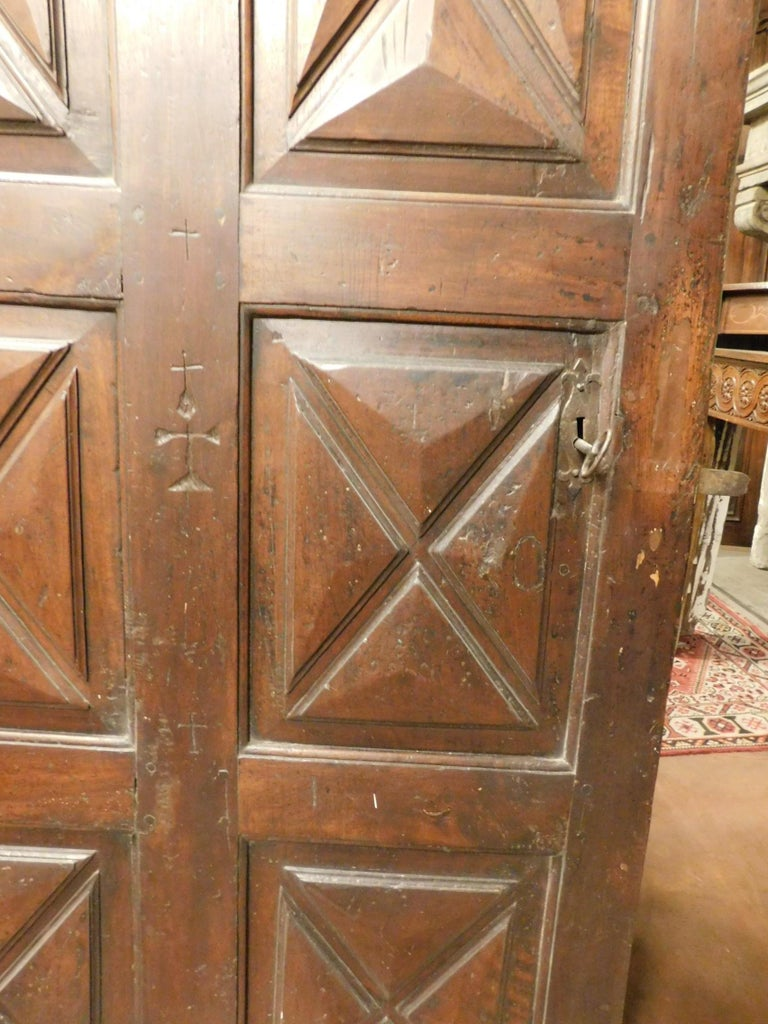 18th Century Antique Brown Walnut Wood Door, Carved Symbols, with Diamonds For Sale 2