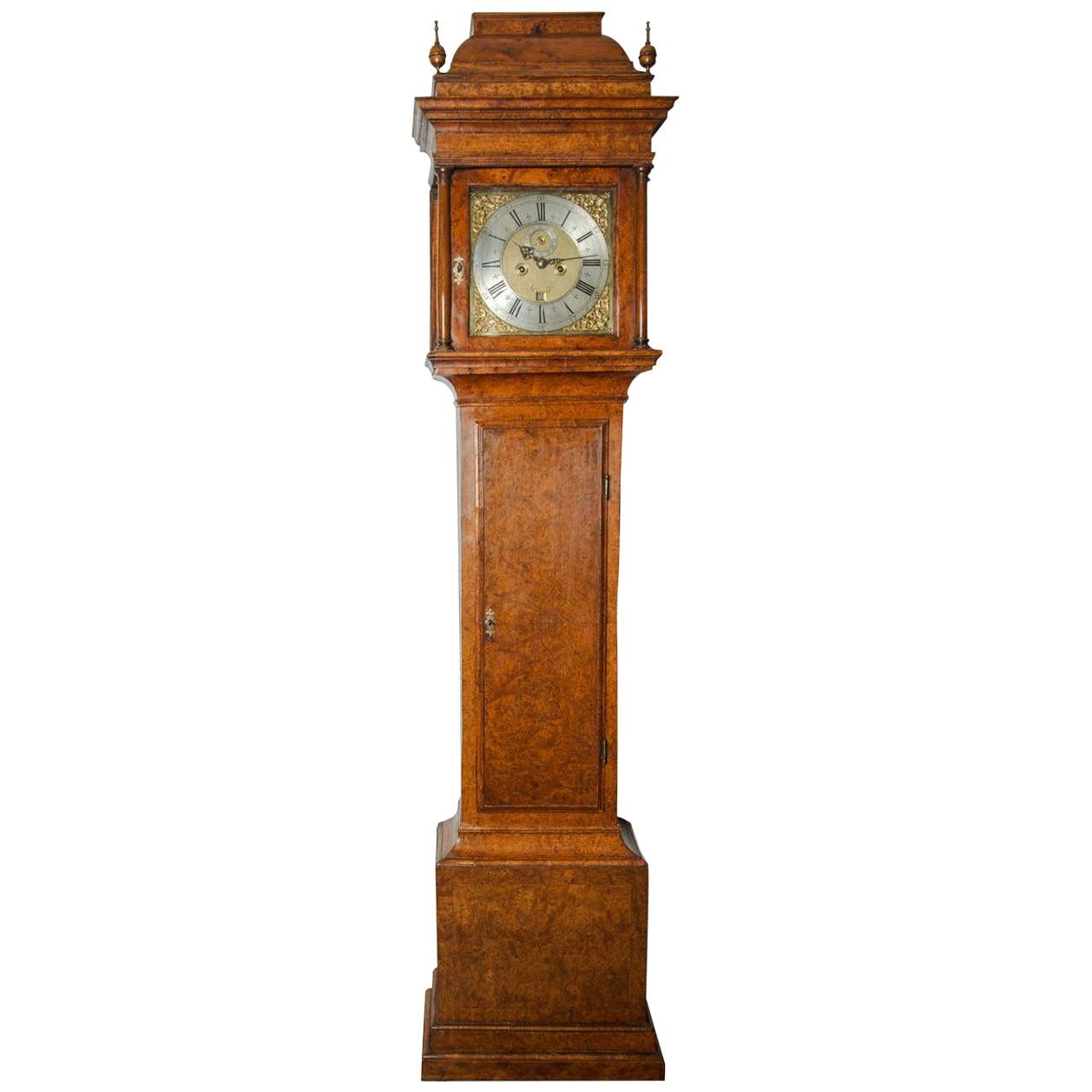 18th Century Antique Burr-Yew Longcase Clock by John Stephens of London