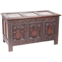 18th Century Antique Carved Oak Paneled Coffer