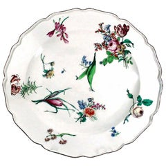 18th Century Antique Chelsea Porcelain Massive Botanical Dish, Red Anchor Period