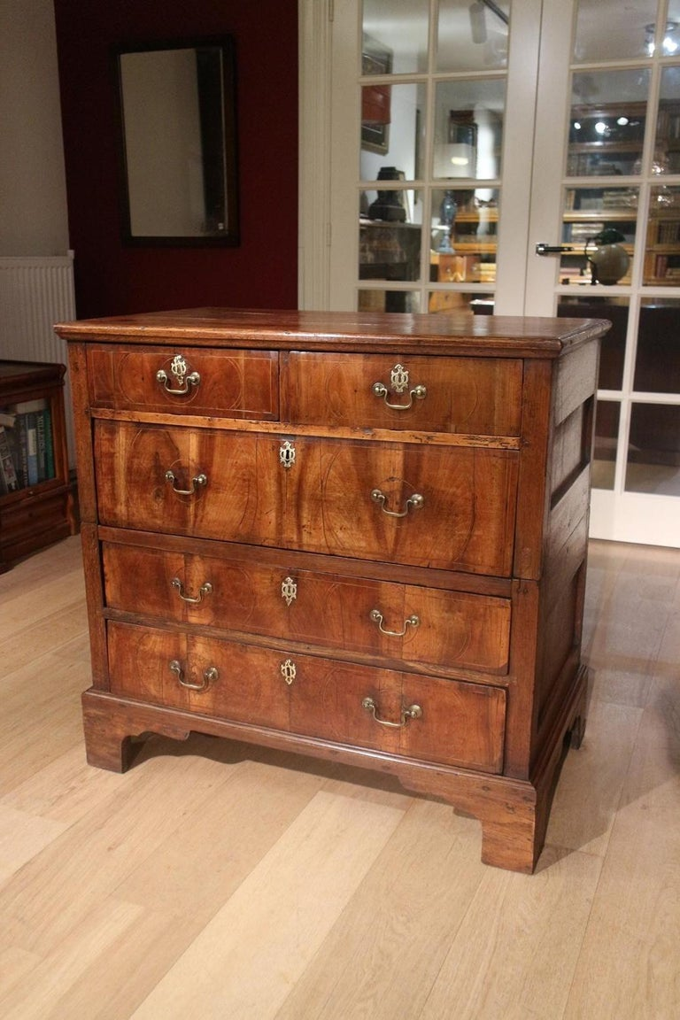 George II 18th Century Antique Chest of Drawers in Walnut and Oak For Sale