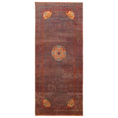 18th Century Antique Chinese Kansu Gallery Size Rug. 6 ft 7 in x 15 ft 6 in