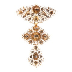 18th Century Antique Filigree Gold Cross Pendant with Table Cut Diamonds, 1750s