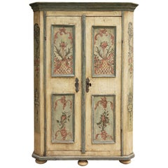 18th Century Floral Ivory Hand Painted Cabinet