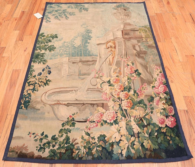 18th Century and Earlier 18th Century Antique French Beauvais Tapestry 4 ft 4 in x 6 ft 9 in For Sale