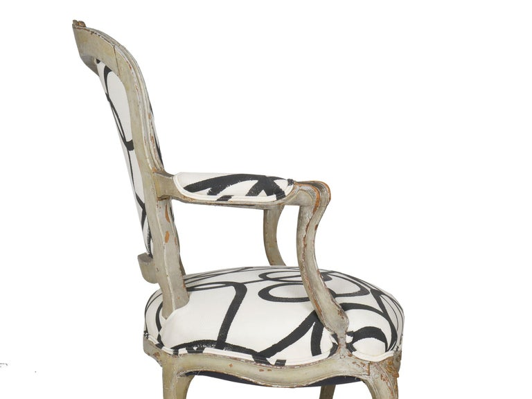 18th Century Antique French Louis XV Period Gray Painted Armchair For Sale 6
