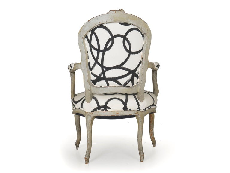 Upholstery 18th Century Antique French Louis XV Period Gray Painted Armchair For Sale