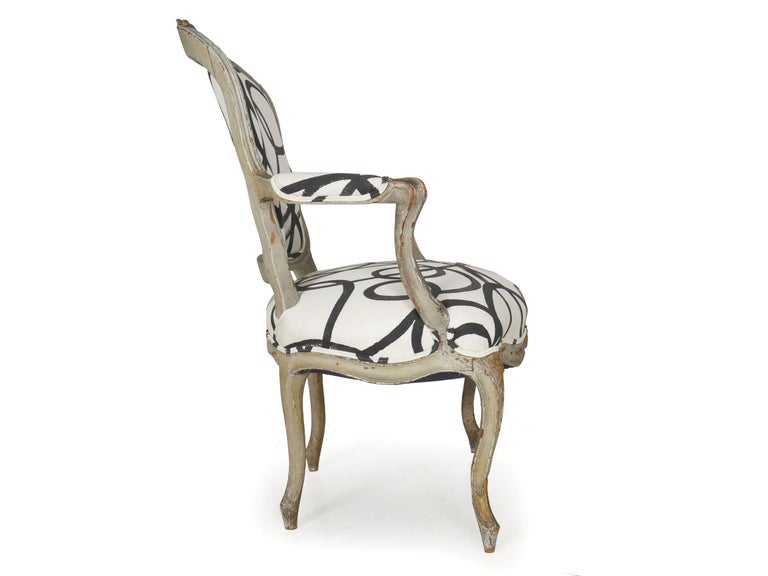 18th Century Antique French Louis XV Period Gray Painted Armchair For Sale 1