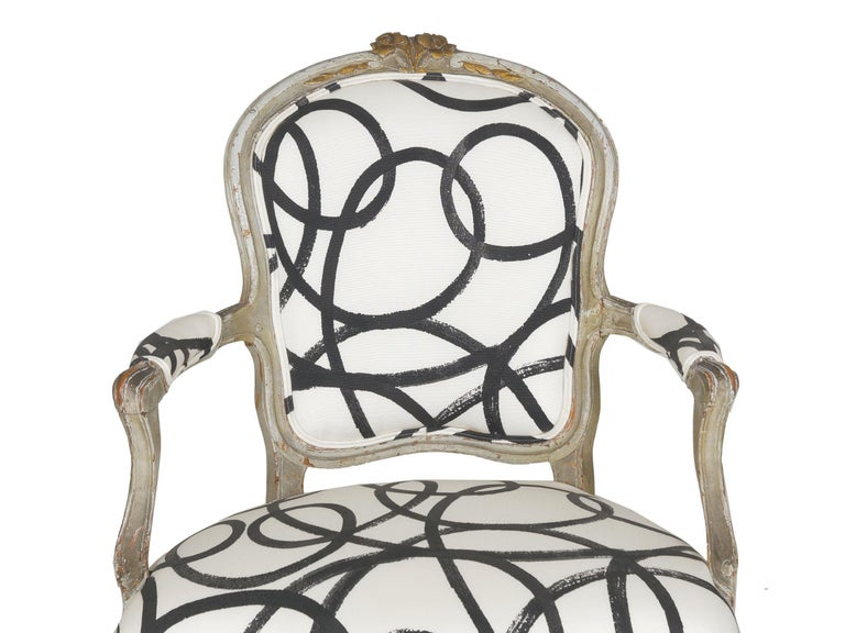 18th Century Antique French Louis XV Period Gray Painted Armchair For Sale 2