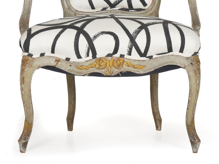 18th Century Antique French Louis XV Period Gray Painted Armchair For Sale 3