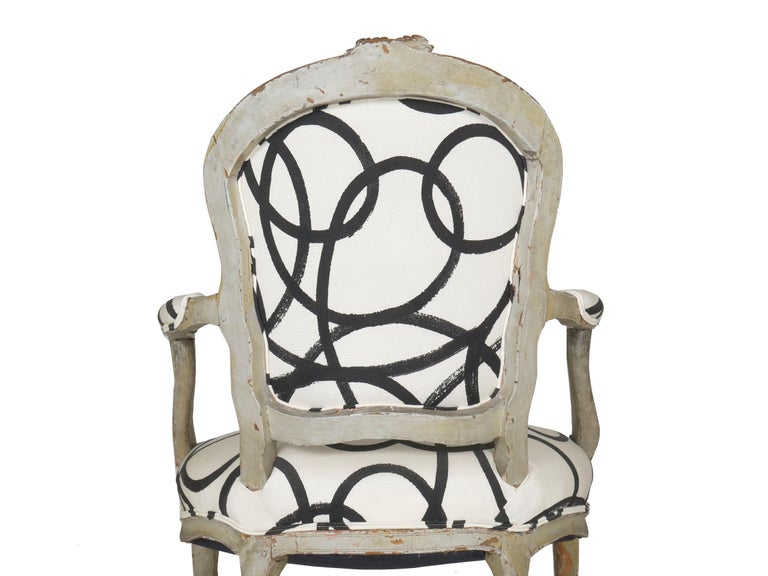 18th Century Antique French Louis XV Period Gray Painted Armchair For Sale 5