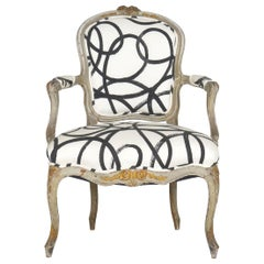 18th Century Antique French Louis XV Period Gray Painted Armchair