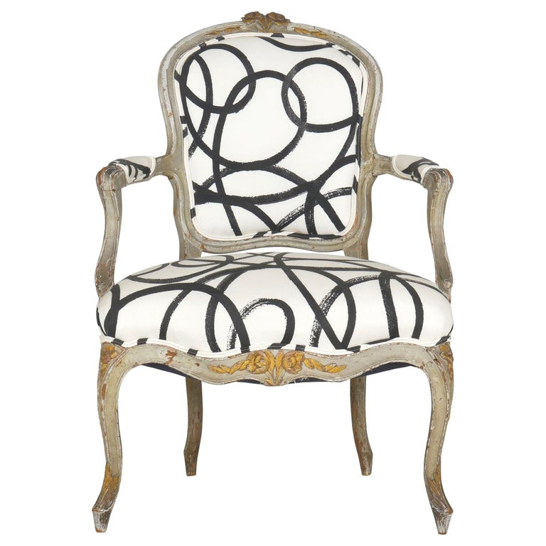 18th Century Antique French Louis XV Period Gray Painted Armchair For Sale