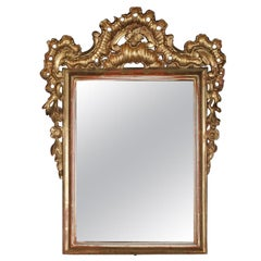 18th Century Antique French Rococo Foliate & Gadroon Giltwood Wall Mirror