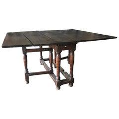 18th Century Antique French Walnut Drop-Leaf Table