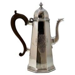 18th Century Antique George I Britannia Silver Octagonal Coffee Pot London, 1714
