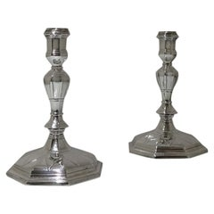 18th Century Antique George I Britannia Silver Pair Candlesticks, London, 1714