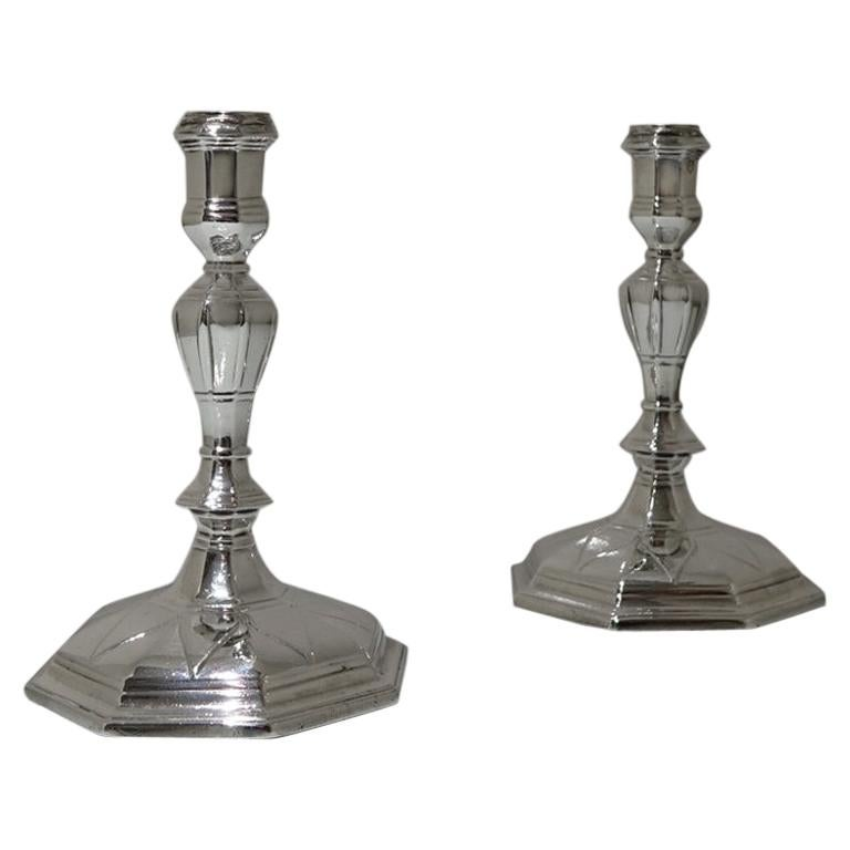 18th Century Antique George I Britannia Silver Pair Candlesticks, London, 1714 For Sale
