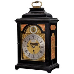 18th Century Antique George II Ebony Bracket Clock by Nicholas Lambert of London