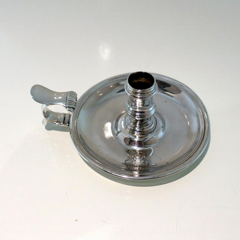 18th Century Antique George II Sterling Silver Chamberstick Lon 1755 J Quantock For Sale 1