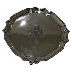 18th Century Antique George II Sterling Silver Salver London 1729 George Wickes