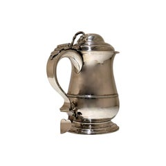 18th Century Antique George II Sterling Silver Tankard & Cover London 1756 R Cox
