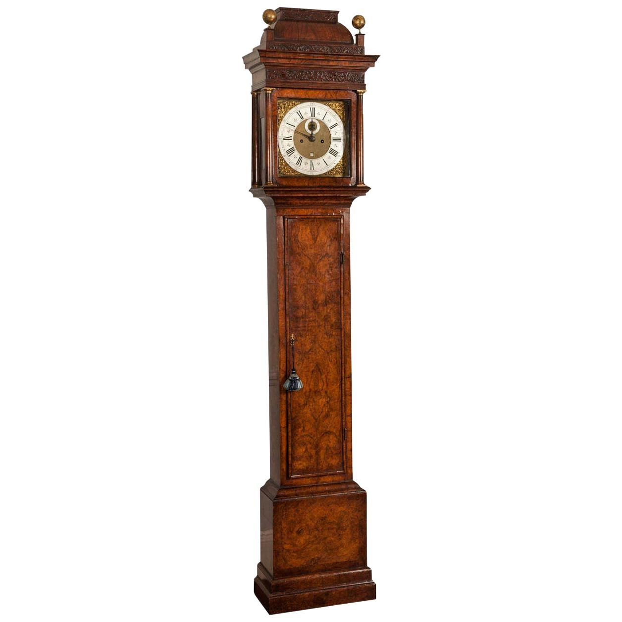 18th Century Antique Walnut Longcase Clock by Daniel Delander of London