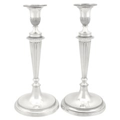 18th Century Antique George III Cast Sterling Silver Candlesticks, 1784