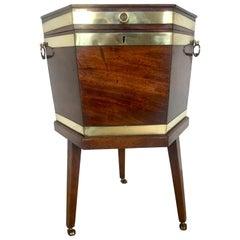 18th Century Antique George III Mahogany Brass Bound Wine Cooler