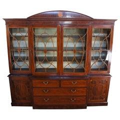 18th Century Antique George III Mahogany Burl Breakfront China Cabinet Bookcase