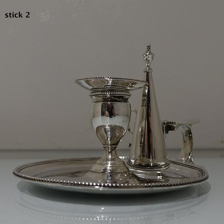 Antique George III Sterling Silver Pair of Chamberstick's London, 1783 For Sale 4