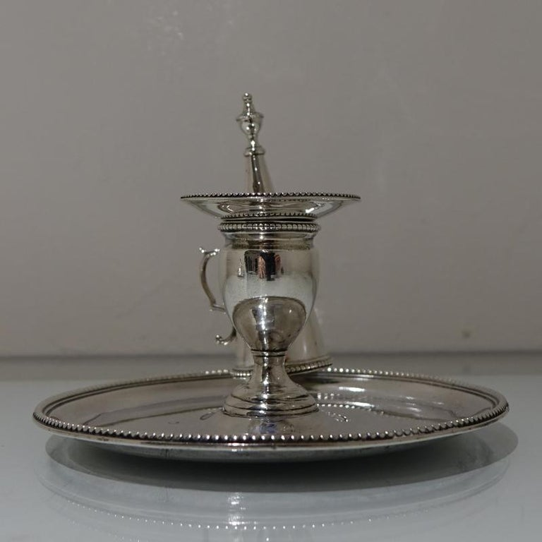 British Antique George III Sterling Silver Pair of Chamberstick's London, 1783 For Sale