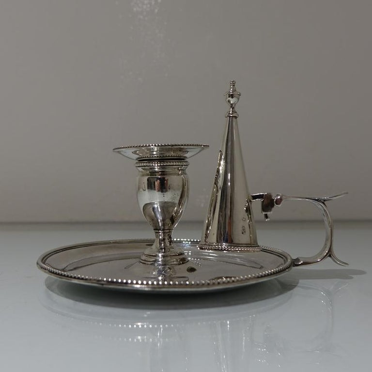 Antique George III Sterling Silver Pair of Chamberstick's London, 1783 In Good Condition For Sale In 53-64 Chancery Lane, London