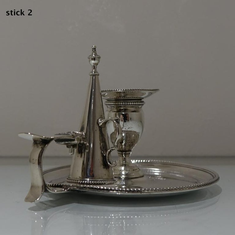 Antique George III Sterling Silver Pair of Chamberstick's London, 1783 For Sale 3