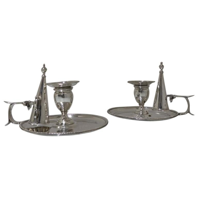 Antique George III Sterling Silver Pair of Chamberstick's London, 1783 For Sale