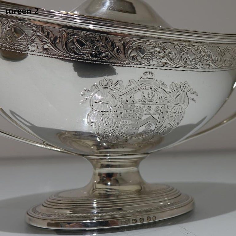 18th Century Antique George III Sterling Silver Pair of Sauce Tureens, London For Sale 1