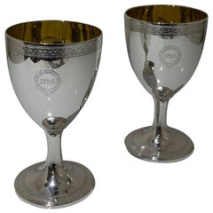 18th Century Antique George III Sterling Silver Pair Wine Goblets London, 1794