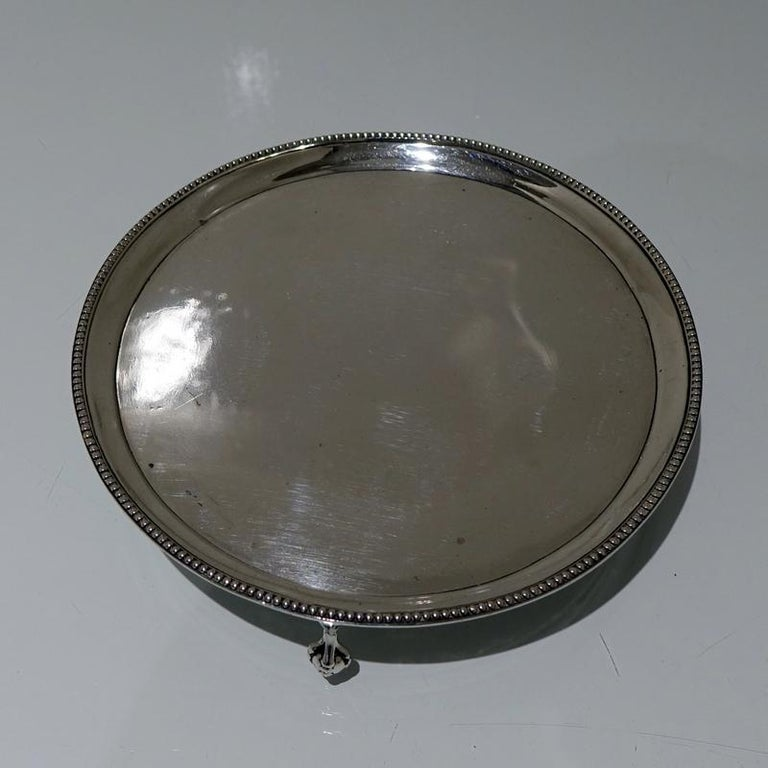 18th Century Antique George III Sterling Silver Salver London1783 Hester Bateman For Sale 3