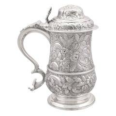 18th Century Antique Georgian Sterling Silver Quart Tankard, 1770