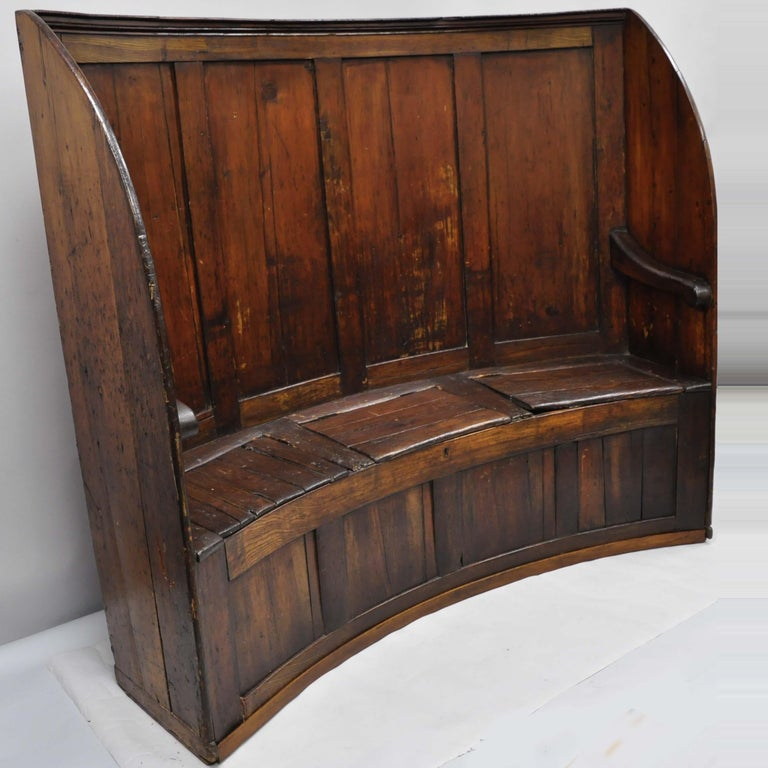 Stupendous 18Th Century Antique High Back Curved English Pine Pub Settle Hall Storage Bench Andrewgaddart Wooden Chair Designs For Living Room Andrewgaddartcom