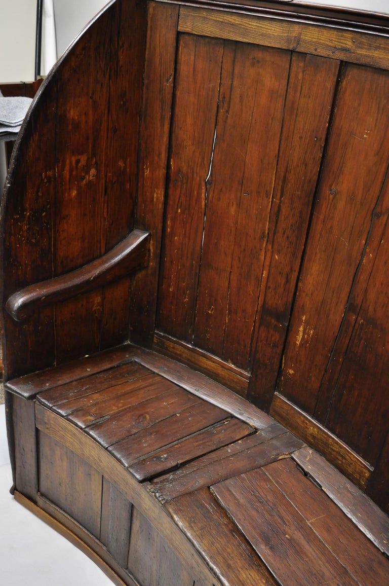 18th Century Antique High Back Curved English Pine Pub