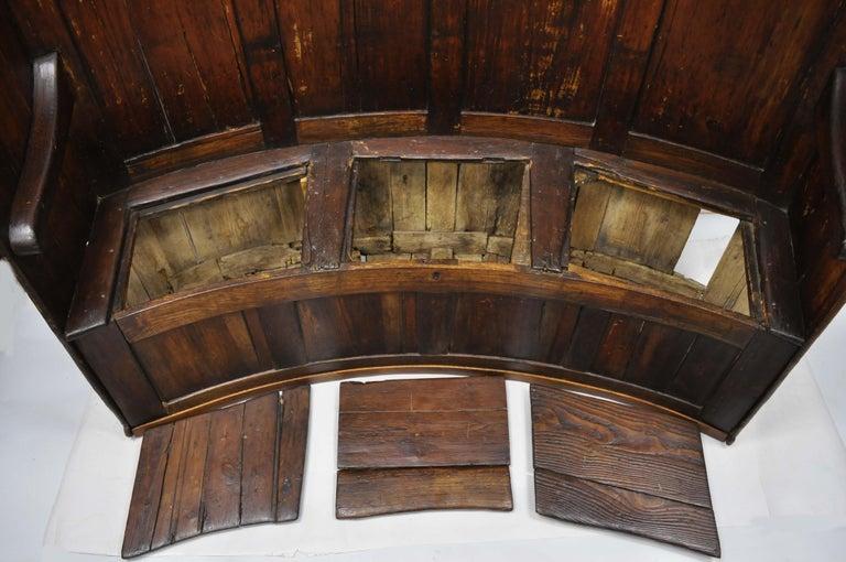 18th Century Antique High Back Curved English Pine Pub
