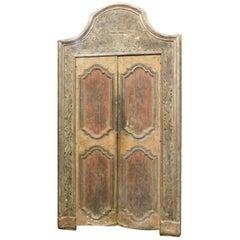 18. Jahrhundert Antike Lackierte Tür mit Rahmen