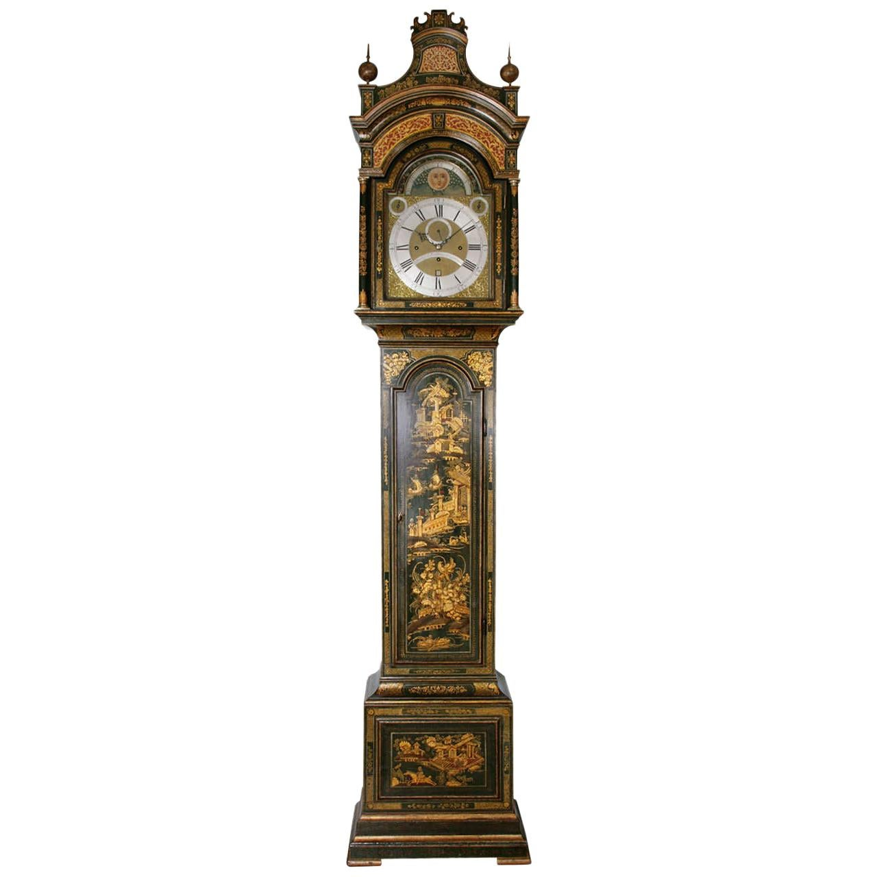 18th Century Antique Lacquered Longcase Clock by John Monkhouse of London